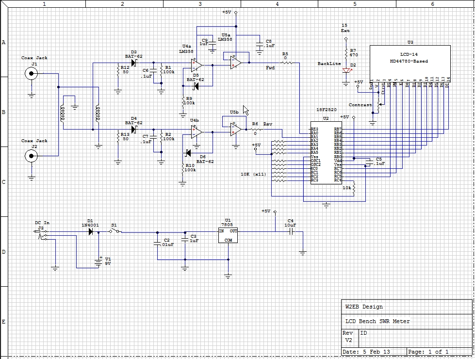 Lazure - Bench SWR and Power Meter Schematics on variable resistor schematic, potentiometer schematic, digital voltmeter schematic, multimeter schematic,